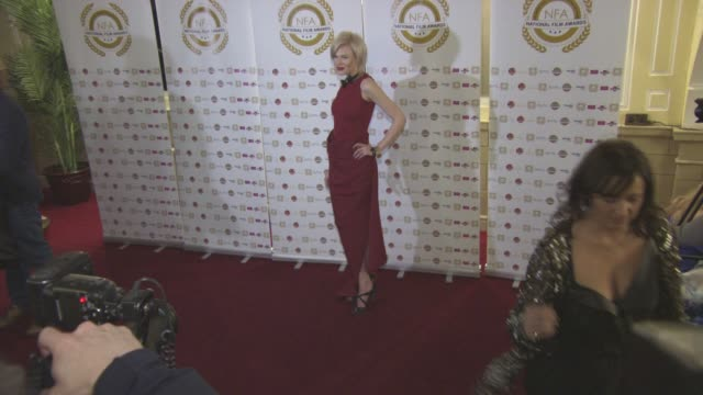 chloe jasmine at national film awards at porchester hall on march 30, 2016 in london, england. - ポーチェスター点の映像素材/bロール