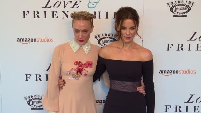 "chloe sevigny, and kate beckinsale at ""love & friendship"" new york screening at landmark sunshine cinema on may 10, 2016 in new york city. - ランドマークサンシャインシアター点の映像素材/bロール"