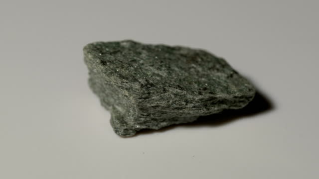 chlorite schist mineral sample in rotation with white background - schist stock videos and b-roll footage