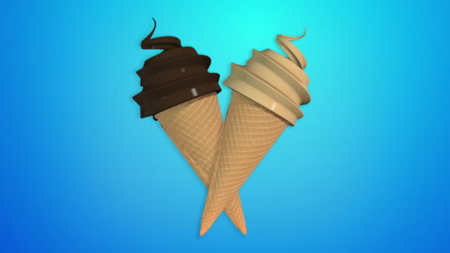 chocolate and mocha ice cream cone (alpha channel ncluded, so you can put your own background) - mocha stock videos and b-roll footage
