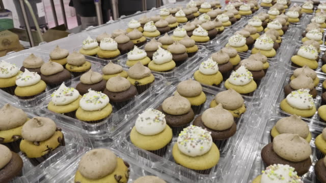 chocolate and vanilla gourmet vegan cupcakes - artisanal food and drink stock videos & royalty-free footage