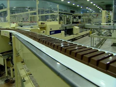 Chocolate bars pass along on conveyer belt