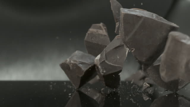 Chocolate blocks falling onto hard surface