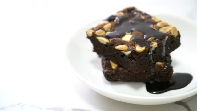 chocolate brownies with chocolate sauce