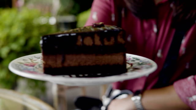 vídeos de stock e filmes b-roll de pov : chocolate cake - mesa de piquenique