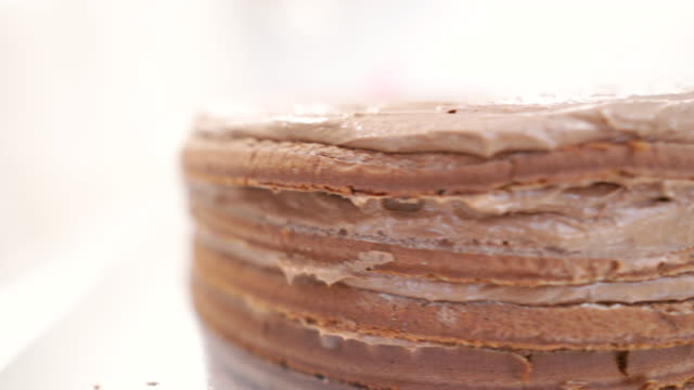 chocolate cake - decorating a cake stock videos and b-roll footage