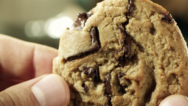 chocolate chip cookie break - chocolate chip stock videos & royalty-free footage