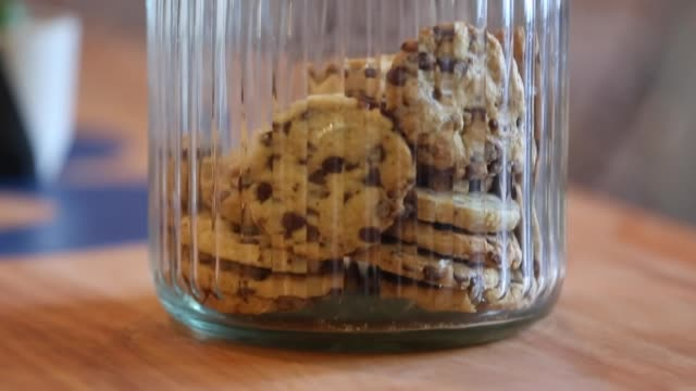 chocolate chip cookies in a jar - chocolate chip stock videos & royalty-free footage