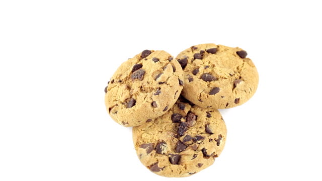 chocolate chip cookies rotating - chocolate chip cookie stock videos and b-roll footage