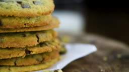Chocolate Chips Cookies on a rotating plate (seamless loopable)