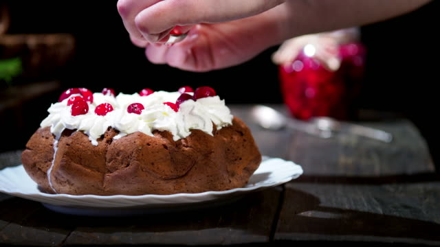 chocolate christmas bundt cake - dessert stock videos & royalty-free footage