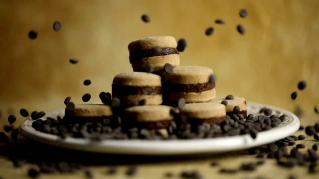 chocolate cookie dessert - chocolate chip stock videos & royalty-free footage