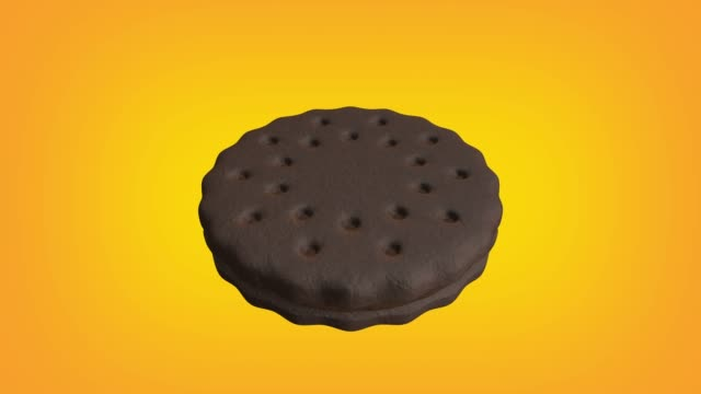 chocolate cookie with chocolate cream animation loop. luma matte is provided to extract the cookie. - stuffed stock videos & royalty-free footage