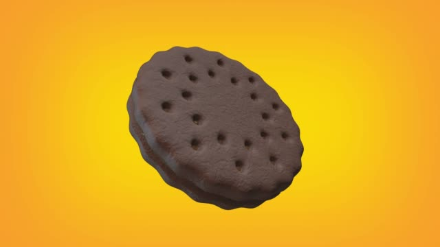 chocolate cookie with chocolate cream animation loop. luma matte is provided to extract the cookie. - biscuit stock videos & royalty-free footage