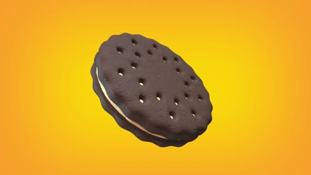 chocolate cookie with cream animation loop. luma matte is provided to extract the cookie. - crunchy stock videos & royalty-free footage