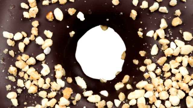 chocolate donut on white - donut stock videos and b-roll footage