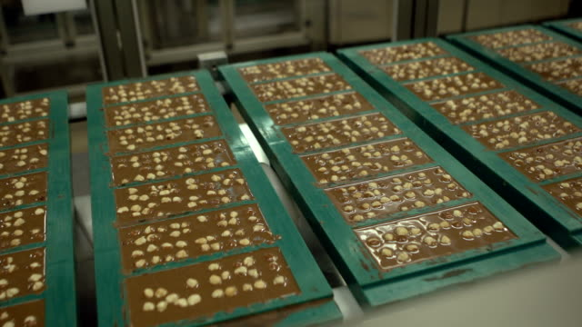 chocolate factory - nut food stock videos & royalty-free footage