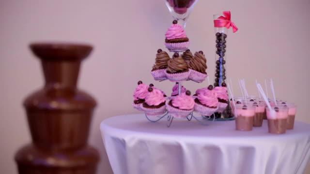 chocolate fountain - strawberry milkshake stock videos & royalty-free footage