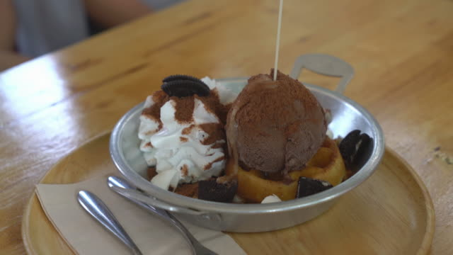 chocolate ice-cream with waffle