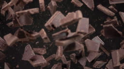 Chocolate pieces explosion. Slow Motion 500fps