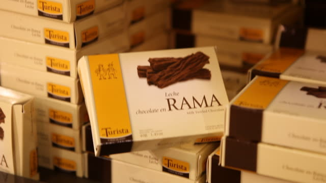 Chocolate products in the sales room which connects directly to the chocolate factory 'Del Turista' in Bariloche in Patagonia