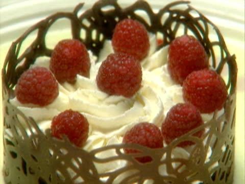 a chocolate raspberry dessert - brambleberry stock videos & royalty-free footage