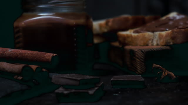 Chocolate spread over black