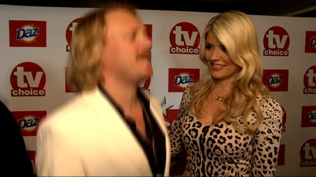 red carpet general views and interviews holly willoughby and leigh francis interviewed sot on what they're nominated for / holly on what's it like... - jedward stock videos and b-roll footage