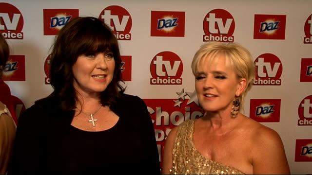 red carpet general views and interviews general views coleen nolan and lisa maxwell and interviewed sot on who they are routing for / on xfactor and... - lisa maxwell stock videos and b-roll footage