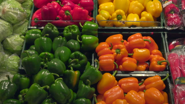 choice of vegetables in a supermarket - red bell pepper stock videos & royalty-free footage