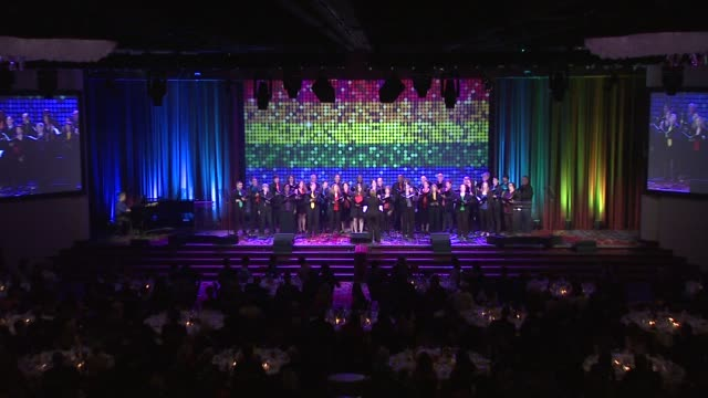 performance a choir performs at the trevor project's trevorlive new yorkat marriott marquis hotel on june 13 2016 in new york city - marriott marquis new york stock videos & royalty-free footage