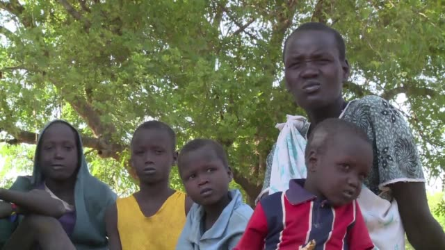 chol deng her husband and five children sit exhausted under a tree having journeyed back to south sudan five years after fleeing their corpse strewn... - hometown stock videos and b-roll footage