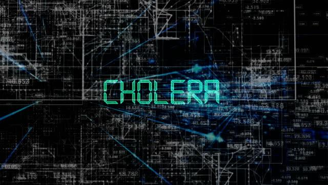 animazione del titolo del colera - vettore della malattia video stock e b–roll