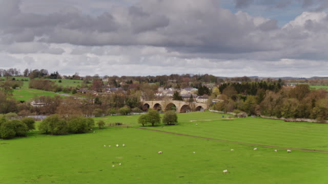 chollerford, northumbria - drone shot - north east england stock videos and b-roll footage