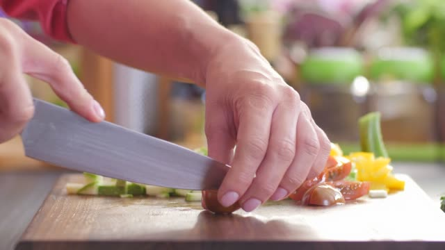chop vegetables.healthy food. colorful cuisine - ingredienti video stock e b–roll