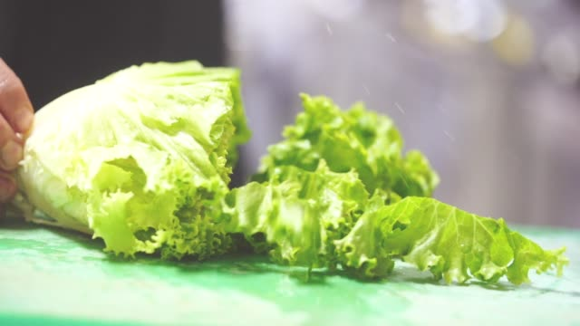 choping lettuce - slow motion - chopped stock videos & royalty-free footage