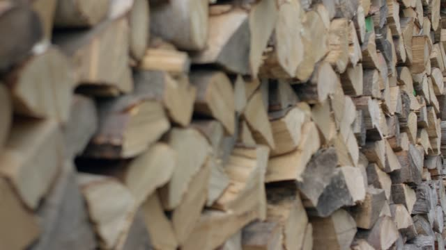 chopped firewood, sharpness relocation - firewood stock videos & royalty-free footage