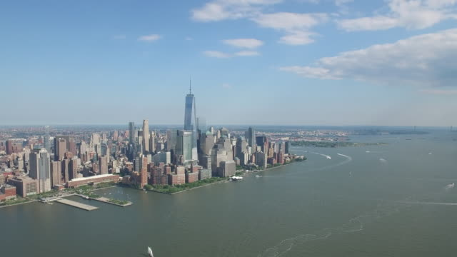 Chopper aerial view of Manhattan and Freedom Tower in New York City (NO AUDIO)