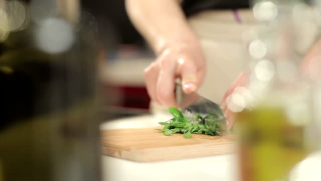 chopping basil - basil stock videos and b-roll footage