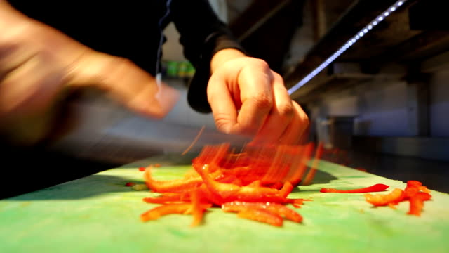 hd chopping bell pepper - dollop stock videos and b-roll footage