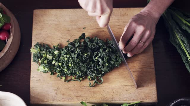 chopping cavolo nero shot overhead - beta carotene stock videos & royalty-free footage