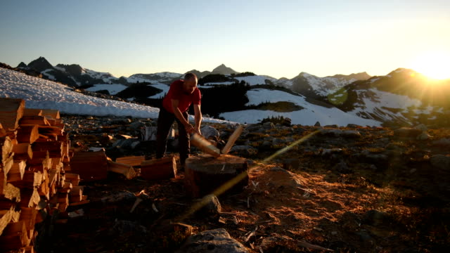 chopping firewood in the mountains - chopped stock videos and b-roll footage