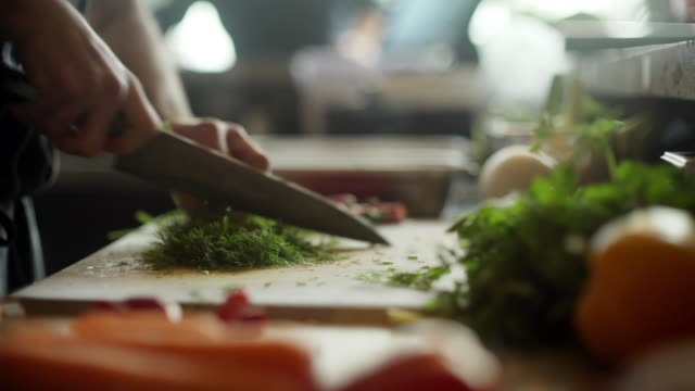 chopping herbs - chef stock videos & royalty-free footage