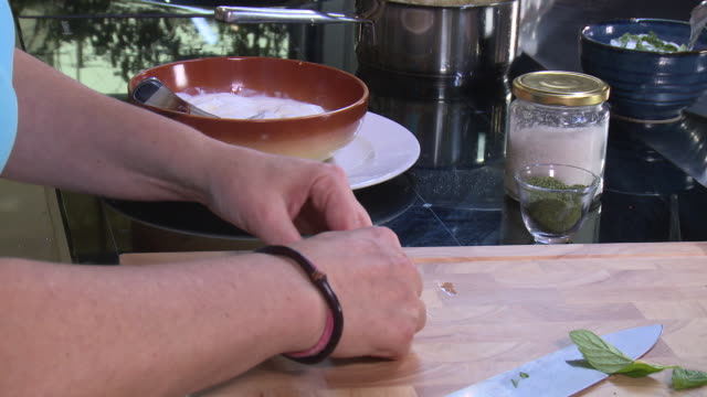 chopping mint view of a woman rolling mint leaves to finely chop them - chopping stock videos & royalty-free footage