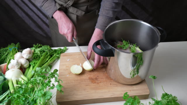 chopping onion - broth stock videos & royalty-free footage