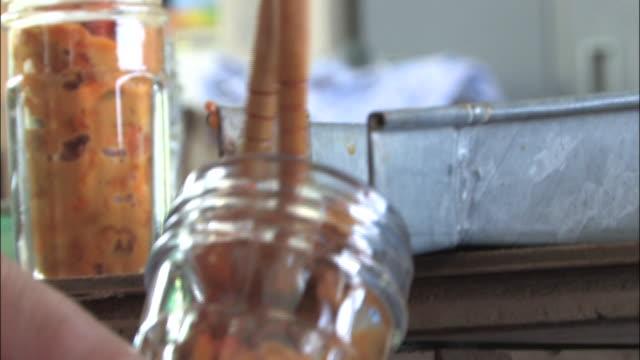 chopsticks shovel sea urchins into a jar. - shimane prefecture stock videos & royalty-free footage