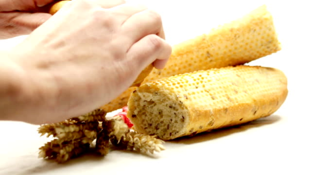 baguettes - french food white background stock videos & royalty-free footage