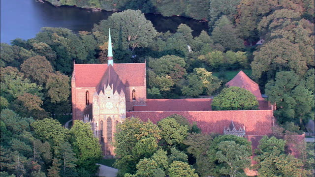 chorin abbey  - aerial view - brandenburg,  germany - brandenburg state stock videos & royalty-free footage