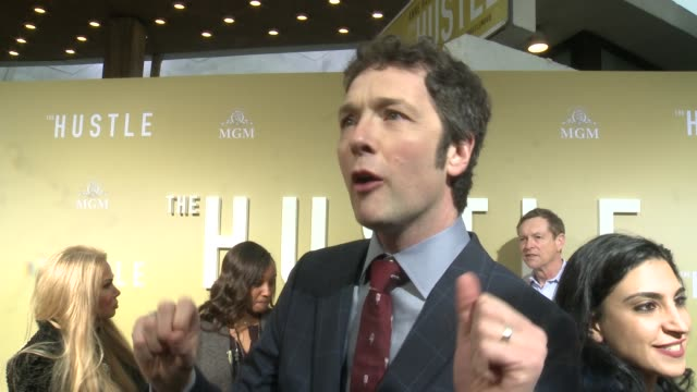 interview chris addison on making the hustle at the the hustle world premiere at arclight cinerama dome on may 08 2019 in hollywood california - cinerama dome hollywood stock videos & royalty-free footage