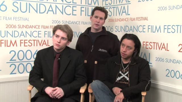 chris barrett, steven beer, and efren ramirez on their documentary film �after school� at the 2006 sundance film festival wireimage video studio at... - ドキュメンタリー映画点の映像素材/bロール